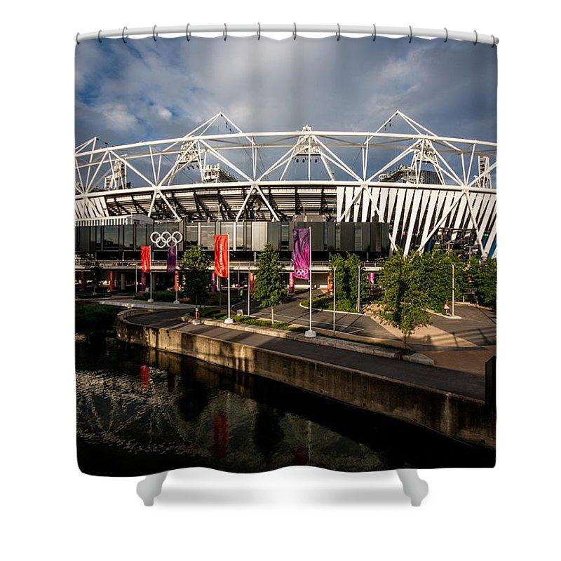 Dawn Oconnor Shower Curtain featuring the photograph Olympic Stadium by Dawn OConnor