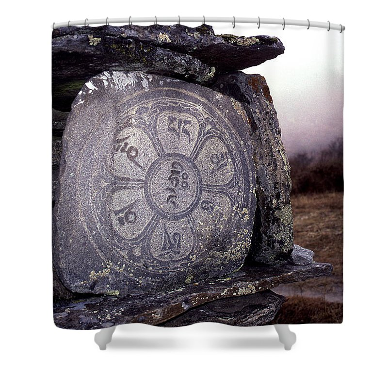 Langtang Shower Curtain featuring the photograph Om Mani Padme Hum by Patrick Klauss