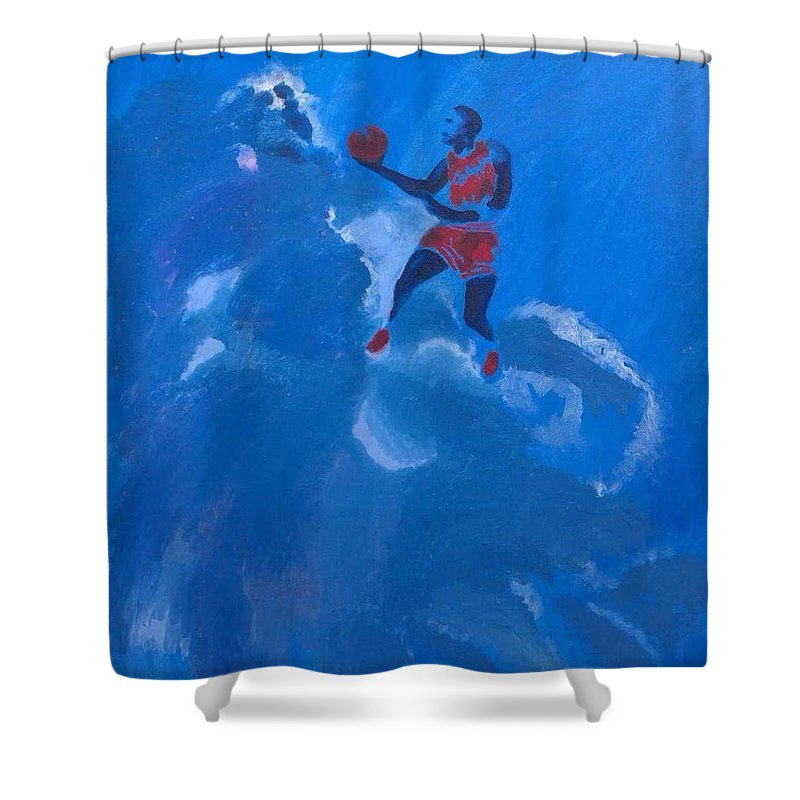 Michael Jordan Shower Curtain Featuring The Painting Omaggio A By Enrico Garff