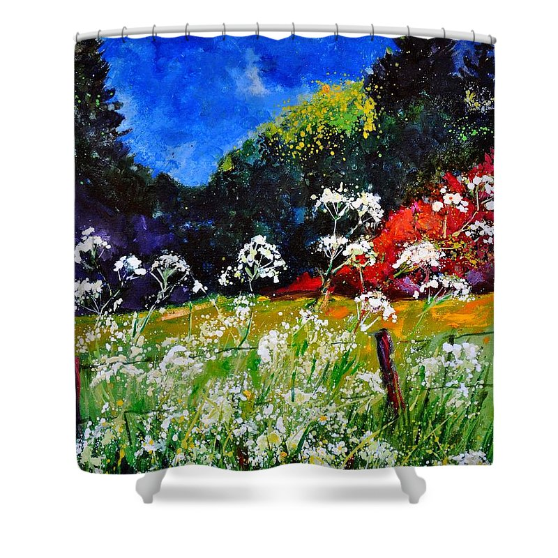 Flowers Shower Curtain featuring the painting Ombelles by Pol Ledent
