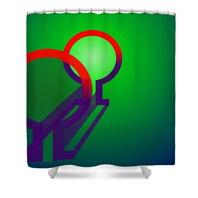 Omega Shower Curtain featuring the digital art Omega Xfers by Helmut Rottler