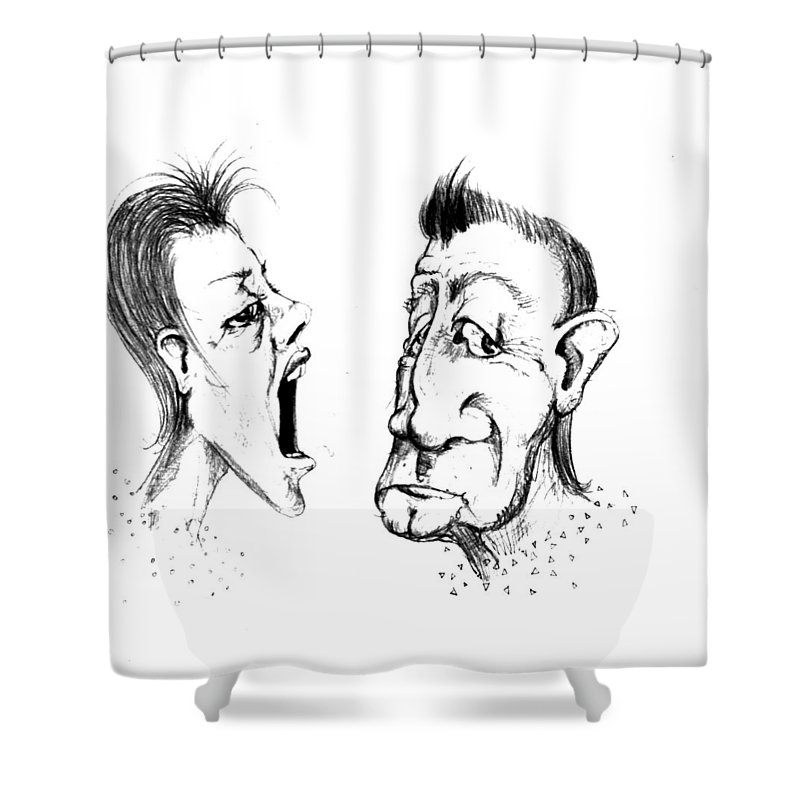 Woman Shower Curtain featuring the drawing Omfem by Line Gagne