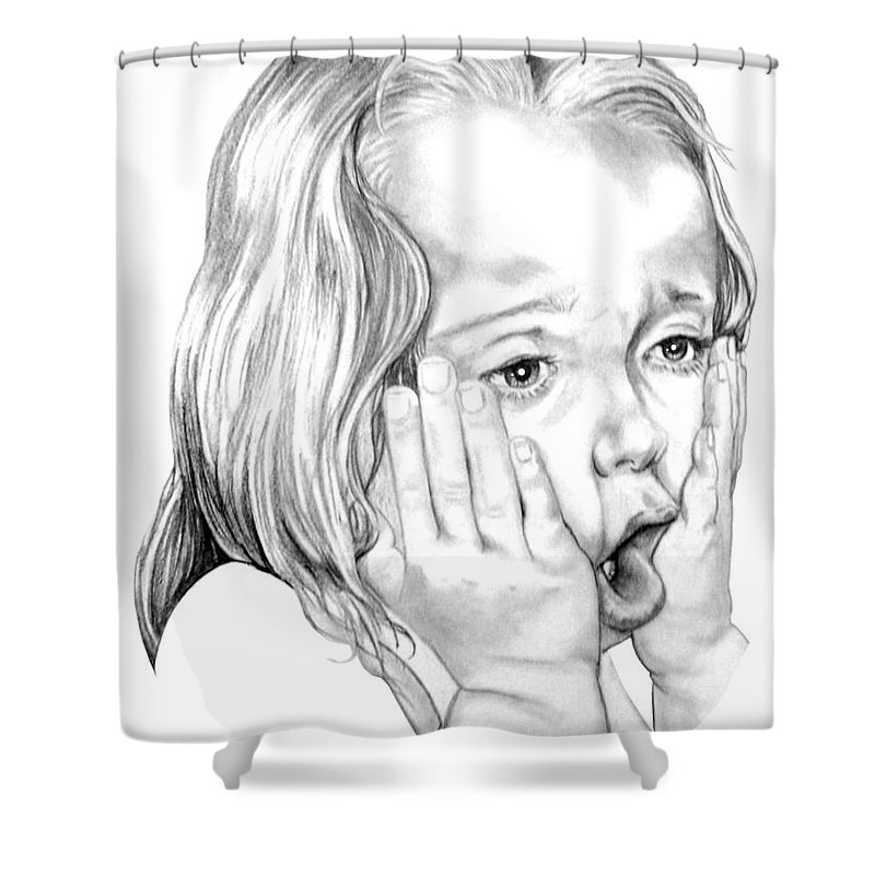 Portrait Shower Curtain featuring the drawing OMG by Murphy Elliott