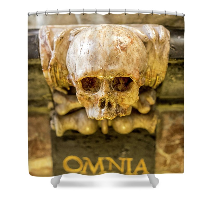 Omnia Mors Aequat; Death; High And Low; Sint-jan; Saint John's; Cathedral; 's-hertogenbosch; Netherlands; Death Is The Grand Leveller And Makes Equal The High And Low; Death; Leveller; Equal; Equality; Religion Art; Religious Art; Spiritual; Spirituality; Catholic; Catholicism; Religion; Religious; Church; Skull; Fear; Holy; Hope; Faith; Love; Happiness; Photography&digital Art; Photography; Photo; Photo Art; Art; Digital Art; 2bhappy4ever; 2bhappy4ever.com; 2bhappy4evercom; Tobehappyforever Shower Curtain featuring the photograph Omnia Mors Aequat by 2bhappy4ever