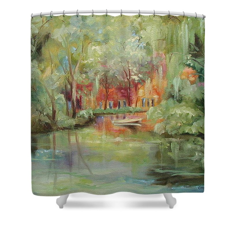 Bayou Shower Curtain featuring the painting On A Bayou by Ginger Concepcion