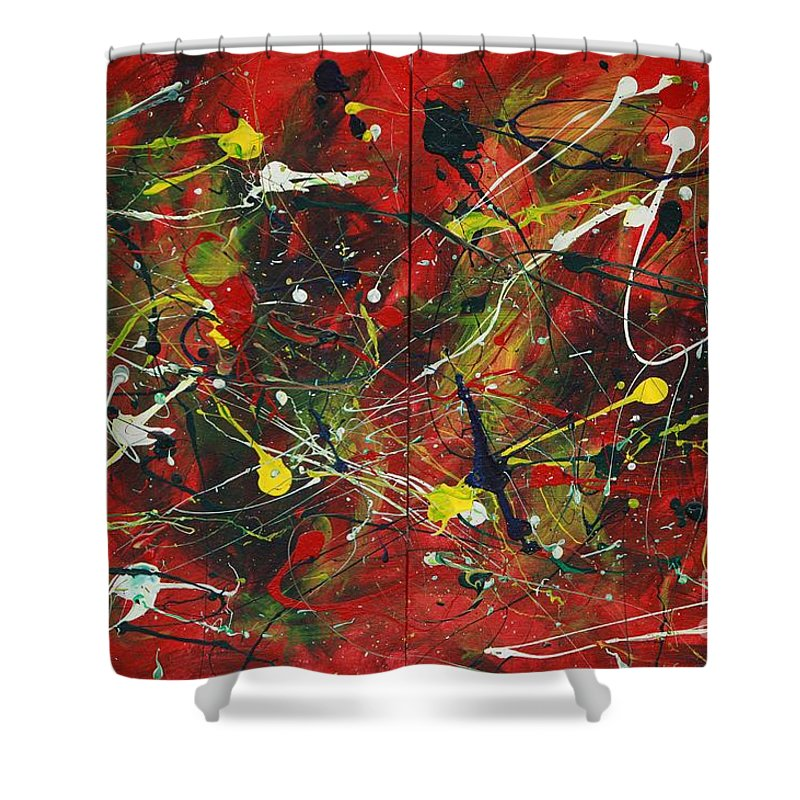Splatter Shower Curtain featuring the painting On A High Note by Jacqueline Athmann
