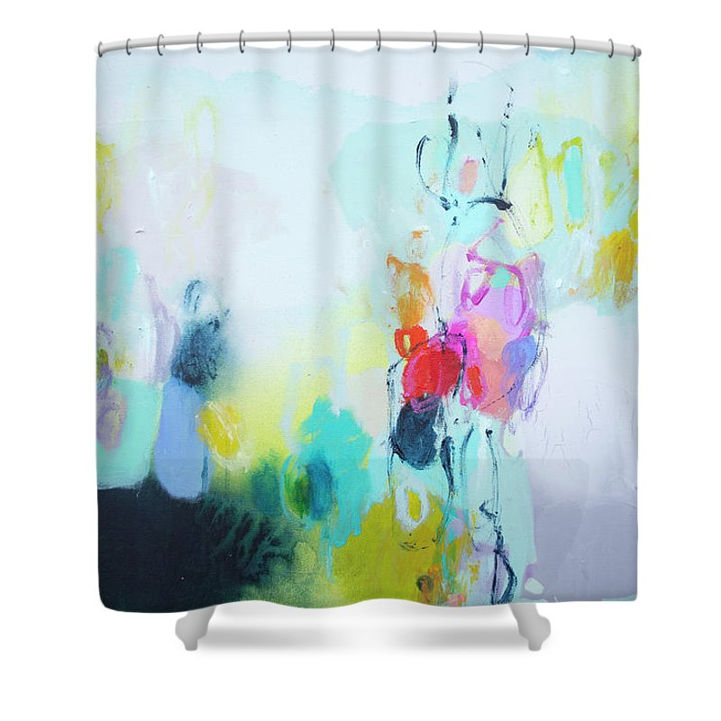 Abstract Shower Curtain featuring the painting On A Road Less Travelled by Claire Desjardins