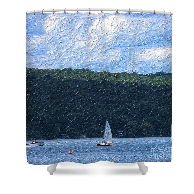 Landscape Shower Curtain featuring the photograph On Cayuga Lake by David Lane