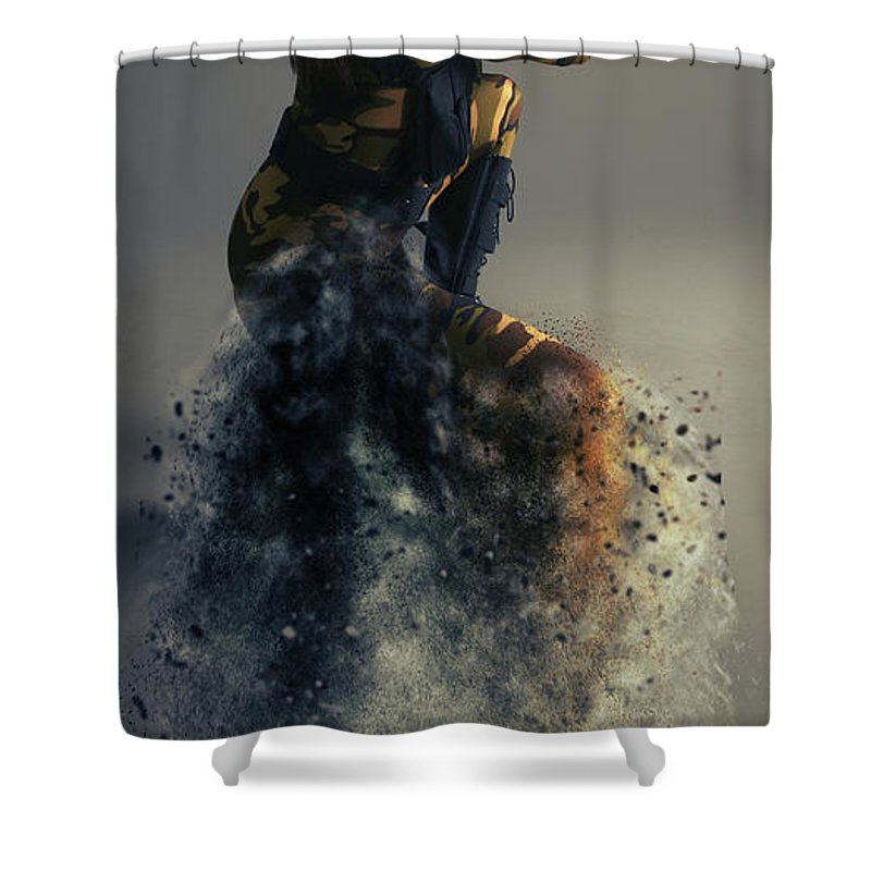 Military Shower Curtain featuring the photograph On Duty by Smart Aviation