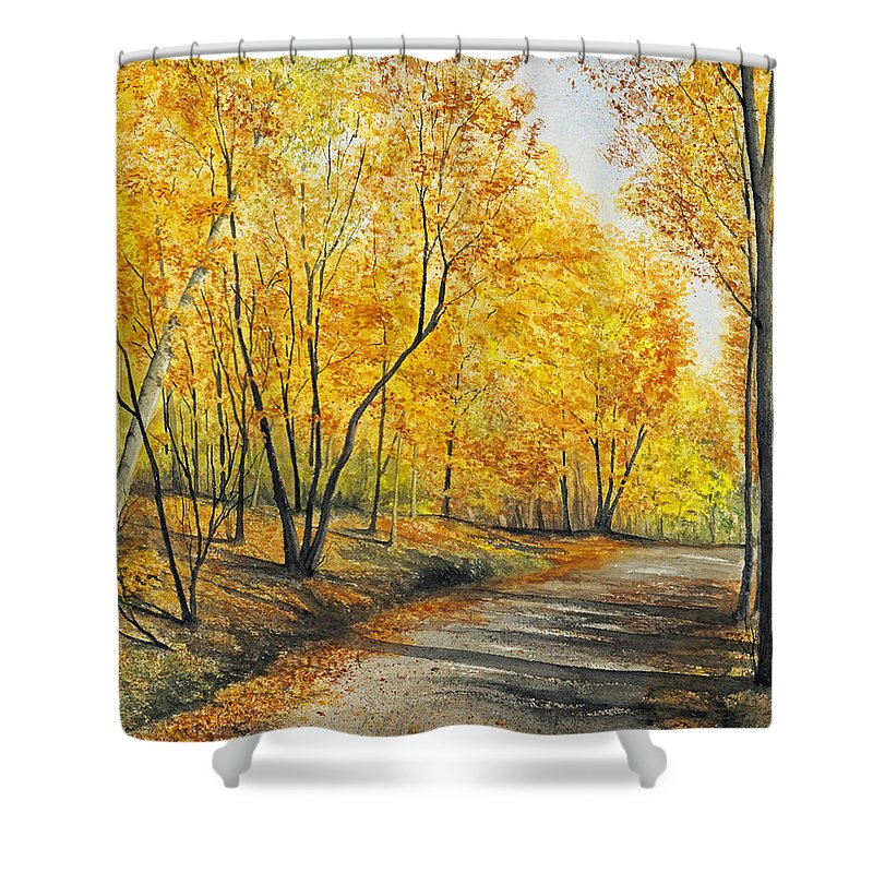 Autumn Shower Curtain featuring the painting On Golden Road by Mary Tuomi