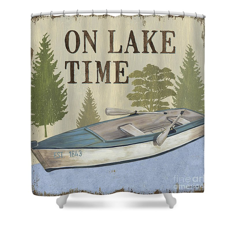 Lake Shower Curtain Featuring The Painting On Time By Debbie DeWitt