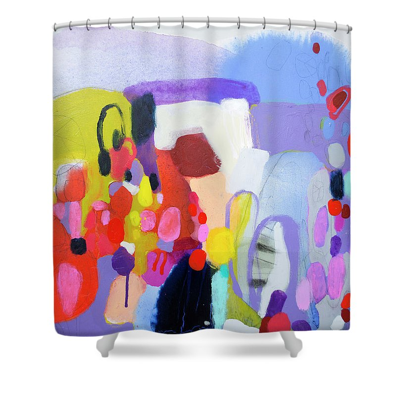 Abstract Shower Curtain featuring the painting On My Mind by Claire Desjardins