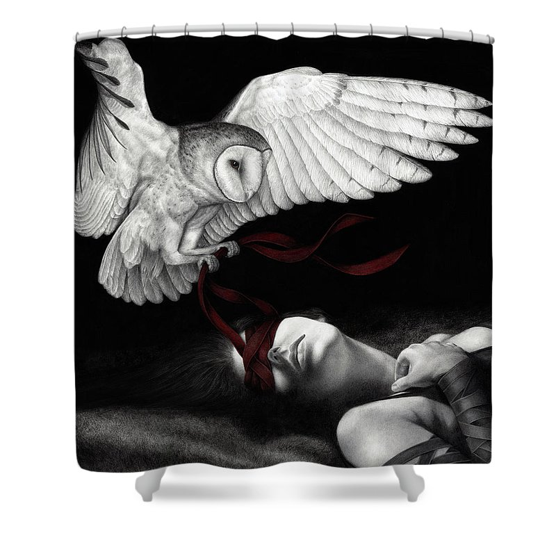 Woman Shower Curtain featuring the painting On Silent Wings by Pat Erickson