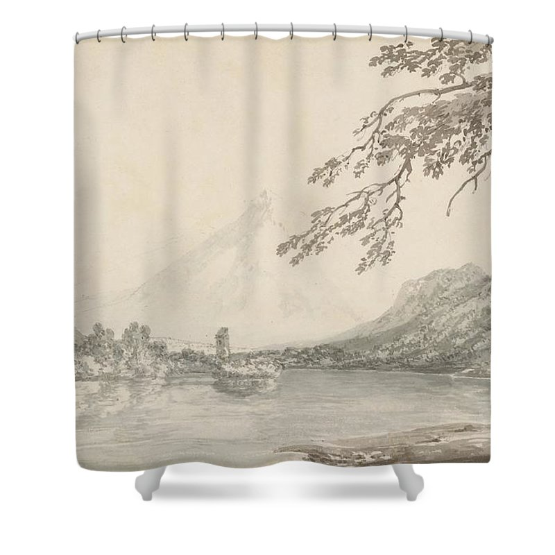 On The Aar Between Unterseen And Lake Of Brienz Shower Curtain featuring the drawing On The Aar Between Unterseen And Lake Of Brienz by Grypons Art