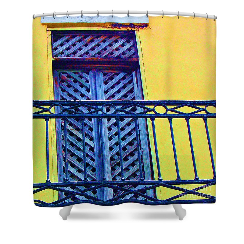 Balcony Shower Curtain featuring the photograph On The Balcony by Debbi Granruth