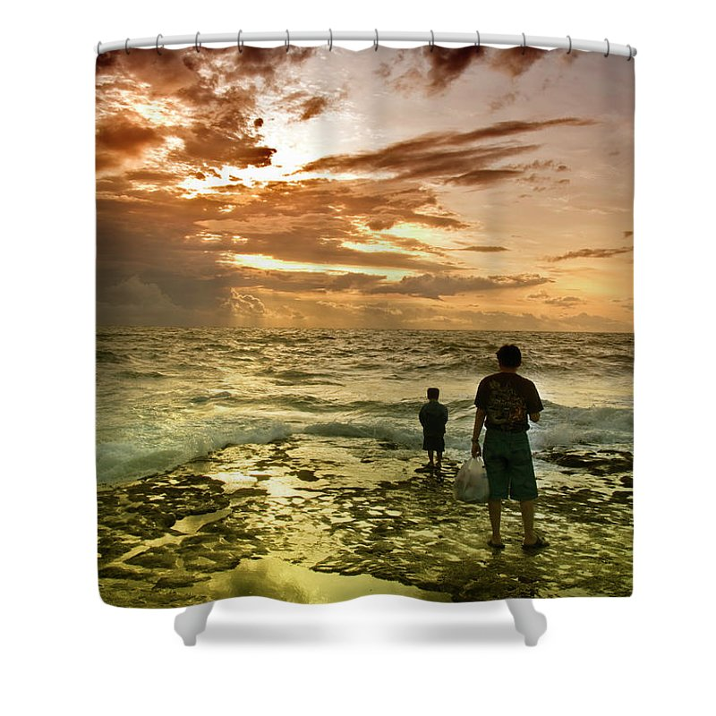 Shower Curtain featuring the photograph On The Beach by Charuhas Images