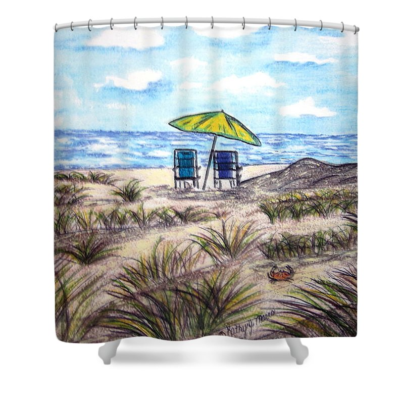 Beach Shower Curtain featuring the painting On The Beach by Kathy Marrs Chandler