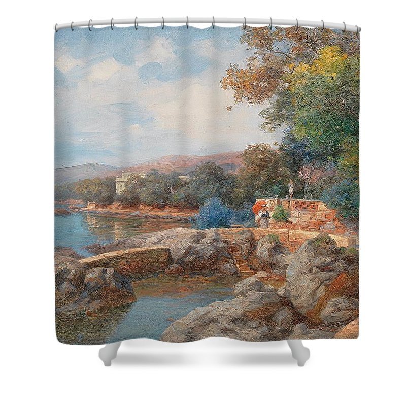 Carl Eduard Onken Shower Curtain featuring the painting On The Beach Of Abbazia by Celestial Images