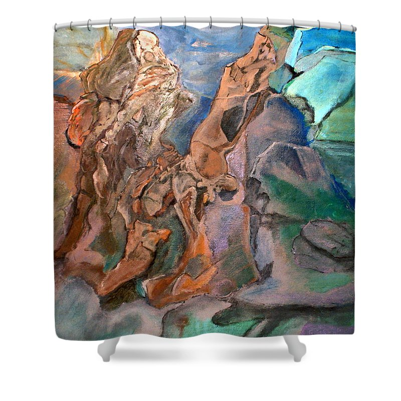 William Shower Curtain featuring the painting On The Beach by MountainSky S