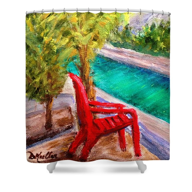 Adirondack Chair Shower Curtain featuring the painting On The Canal by Donna Muller