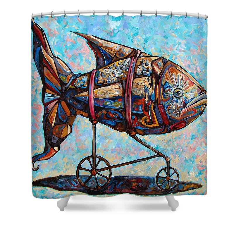 Surrealism Shower Curtain featuring the painting On The Conquer For Land by Darwin Leon
