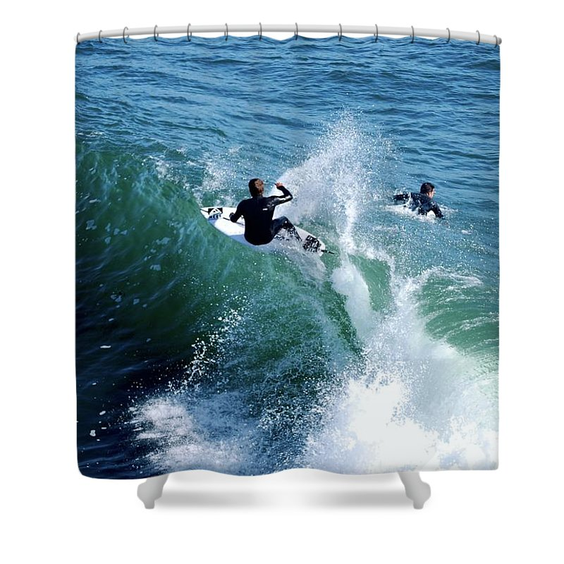 Ocean Shower Curtain featuring the photograph On The Crest by Gerald Carpenter
