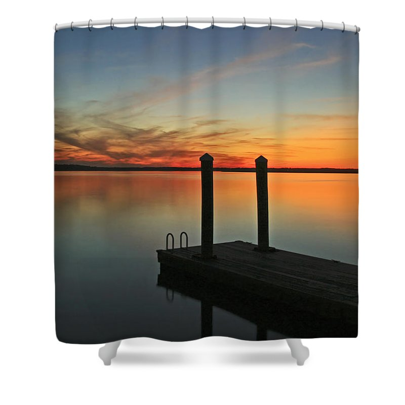 Sunset Shower Curtain featuring the photograph On The Dock by Phill Doherty