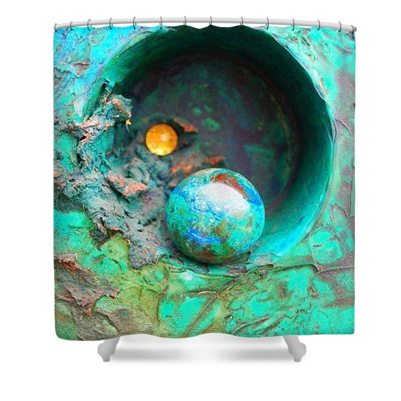 Texture Shower Curtain featuring the mixed media On The Edge by Sofanya White