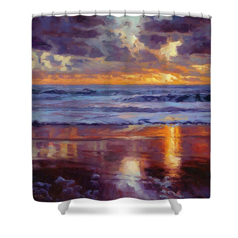 Ocean Shower Curtain featuring the painting On the Horizon by Steve Henderson
