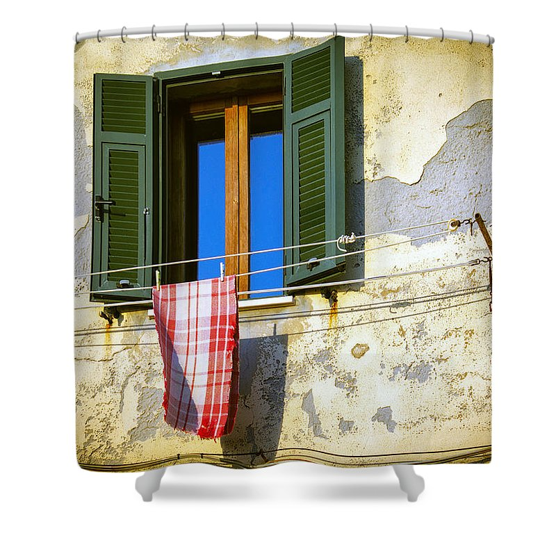 Italy Shower Curtain featuring the photograph On The Line by Dominic Piperata