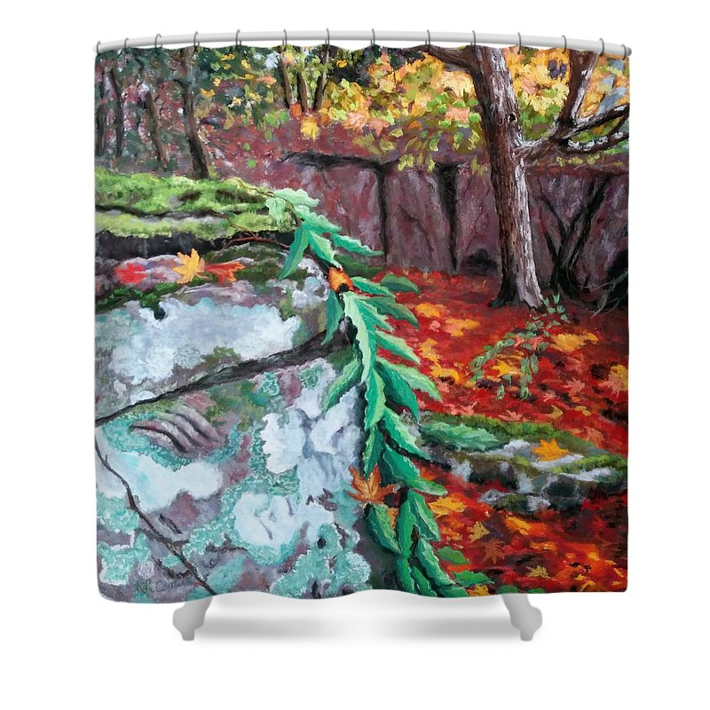 Landscape Shower Curtain featuring the pastel On The North Side by Renee Couture