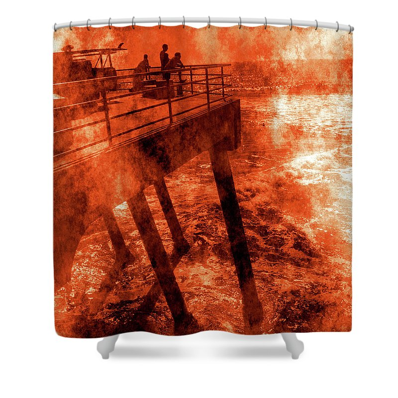 Ocean Shower Curtain featuring the photograph On The Pier by Abstract Angel Artist Stephen K