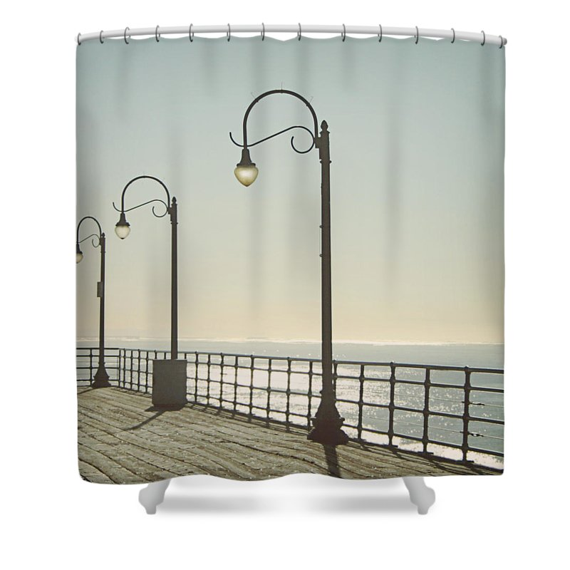 Ocean Shower Curtain featuring the photograph On The Pier by Linda Woods