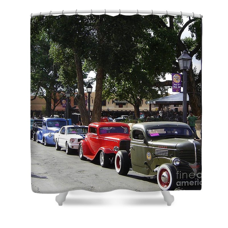 Plaza Shower Curtain featuring the photograph On The Plaza by Mary Rogers