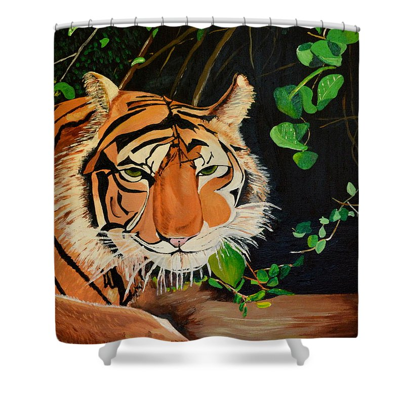 Nature Shower Curtain featuring the painting On The Prowl by Donna Blossom
