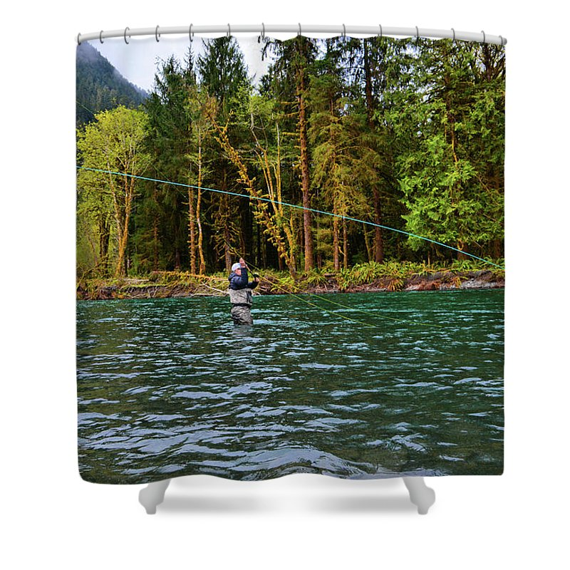 Fishing Shower Curtain featuring the photograph On the River by Jason Brooks