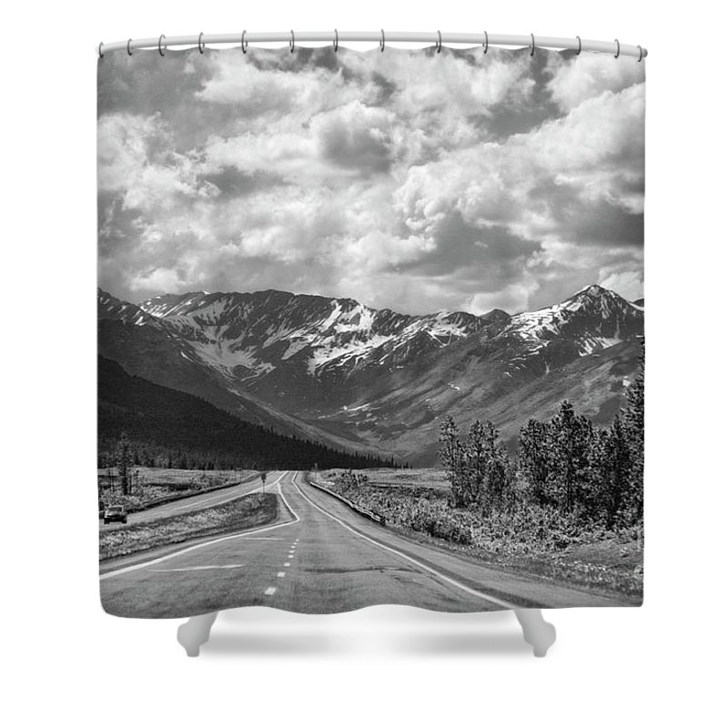 Alaska Shower Curtain featuring the photograph On The Road Alaska Bw by Chuck Kuhn
