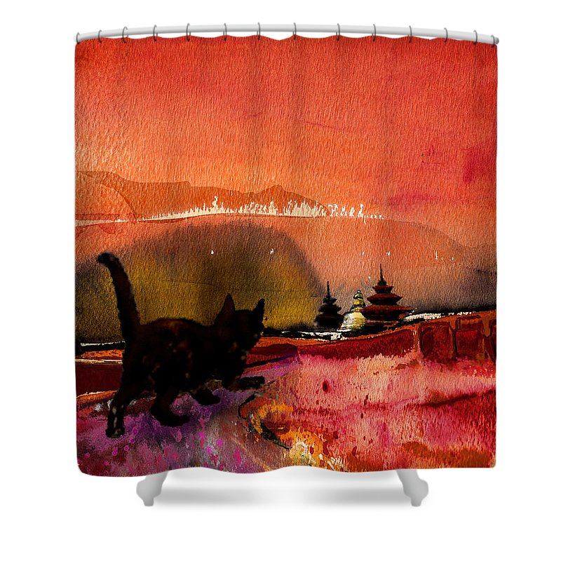 Animals Shower Curtain featuring the painting On The Road To Catmandu by Miki De Goodaboom
