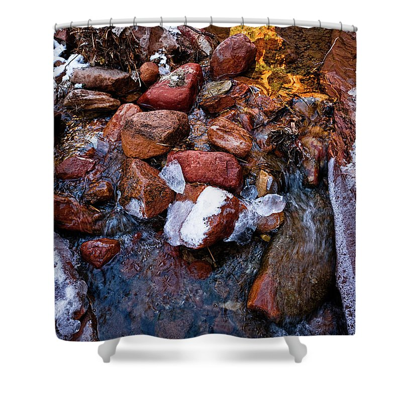 Stream Shower Curtain featuring the photograph On The Rocks by Christopher Holmes