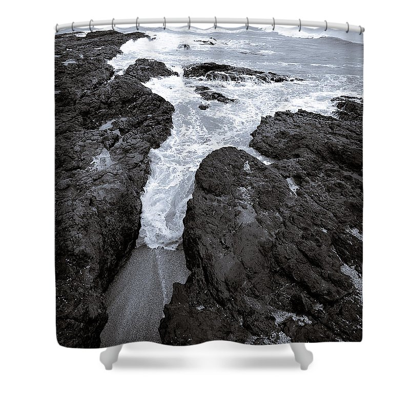 New Zealand Shower Curtain featuring the photograph On The Rocks by Dave Bowman