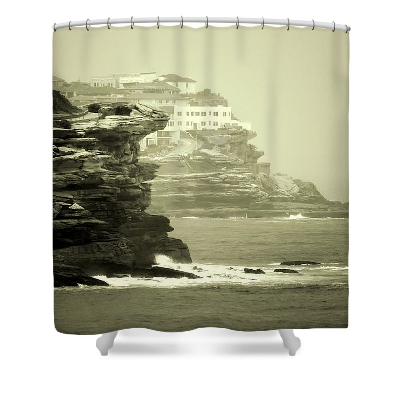 Landscapes Shower Curtain featuring the photograph On The Rugged Cliffs by Holly Kempe
