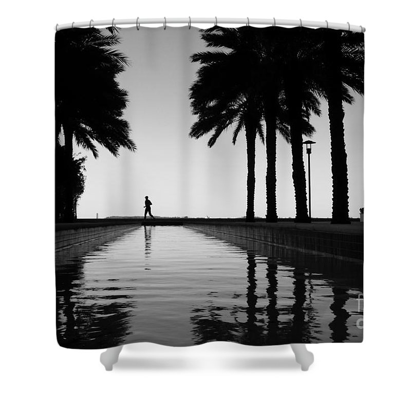 Man Shower Curtain featuring the photograph Brickell Run by Carlos Amaro