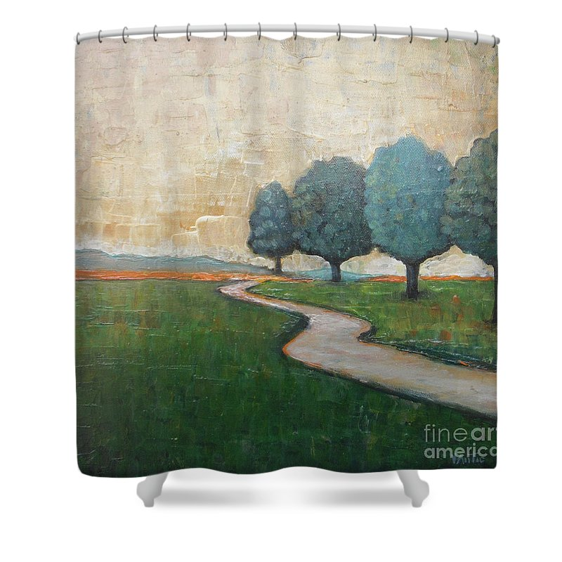 Abstract Landscape Shower Curtain featuring the painting On The Rural Road by Vesna Antic