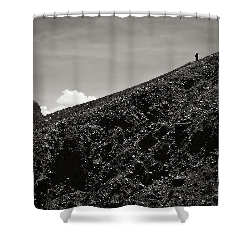 Alone Shower Curtain featuring the photograph On The Slope by Konstantin Dikovsky