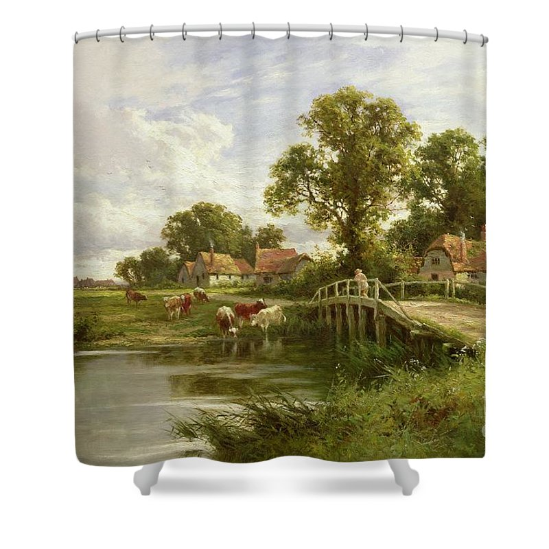River; Bridge; Cattle Watering; Cottage; Victorian; Rural; English Landscape; Drinking; Pastoral; Cowherd; Cloud Shower Curtain featuring the painting On The Thames Near Marlow by Henry Parker