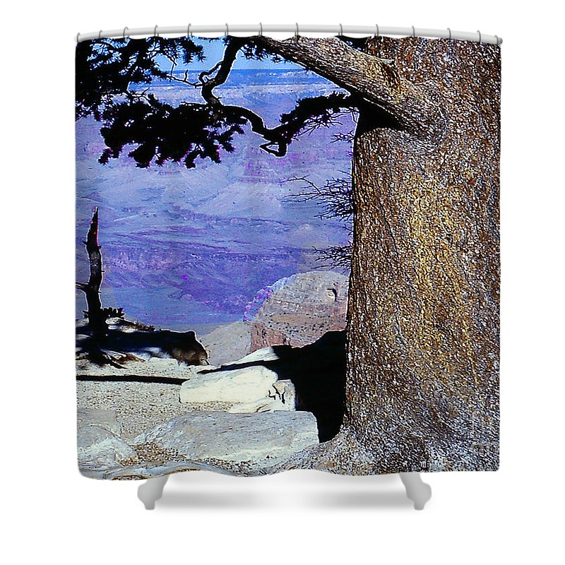 Grand Canyon Shower Curtain featuring the photograph On The West Rim Of The Grand Canyon by Merton Allen