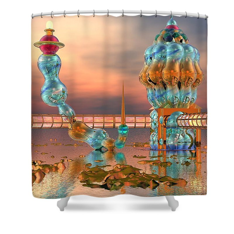 Landscape Shower Curtain featuring the digital art On Vacation by Dave Martsolf