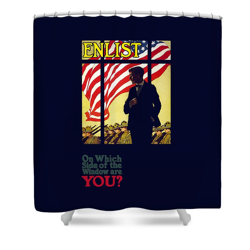 Ww1 Propaganda Shower Curtain featuring the painting On Which Side Of The Window Are You by War Is Hell Store