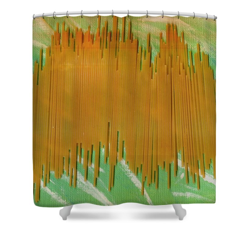 Food Shower Curtain featuring the mixed media On Your Wall Popart by Pepita Selles