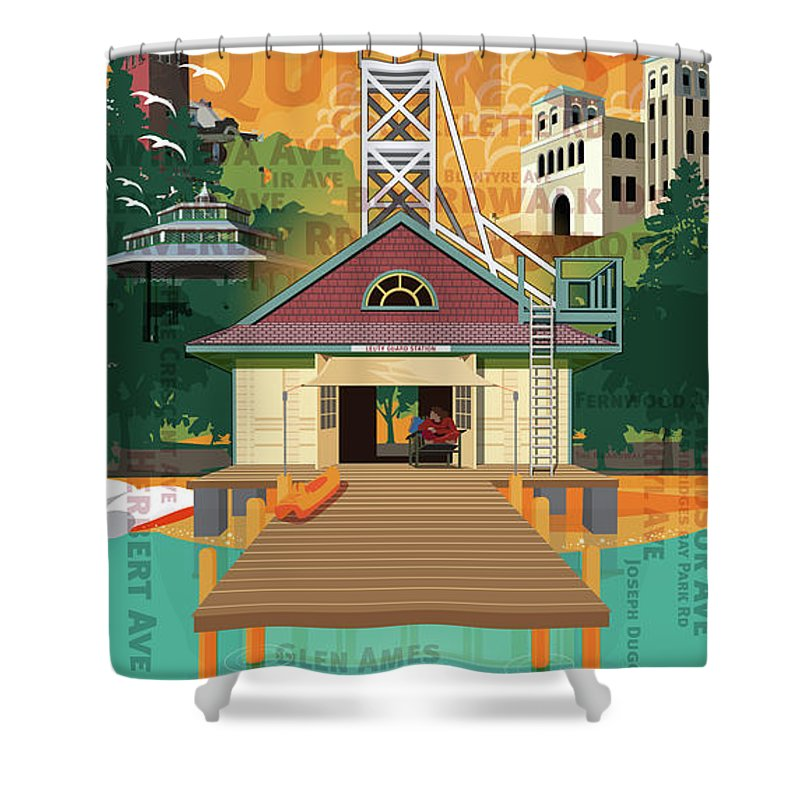 Beaches Shower Curtain featuring the digital art Once A Beacher by David Loblaw